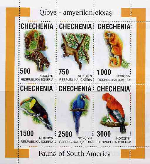 Chechenia 1998 South American Fauna sheetlet containing complete set of 6 values unmounted mint