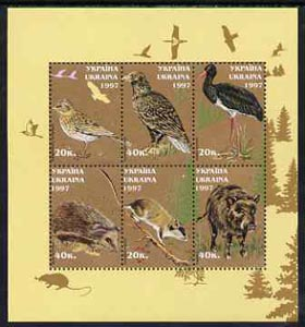 Ukraine 1997 Birds & Animals perf sheetlet containing complete set of 6 values unmounted mint