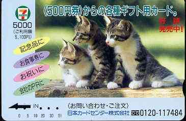 Telephone Card - Japan '7-11' 5000 phone card showing Three Kittens looking to the left