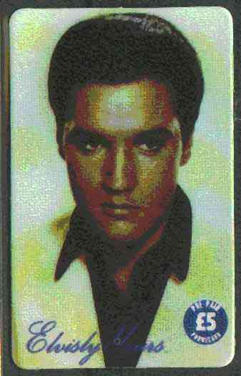 Telephone Card - Elvisly Yours �5 Limited Edition phone card showing full face portrait of Elvis in colour