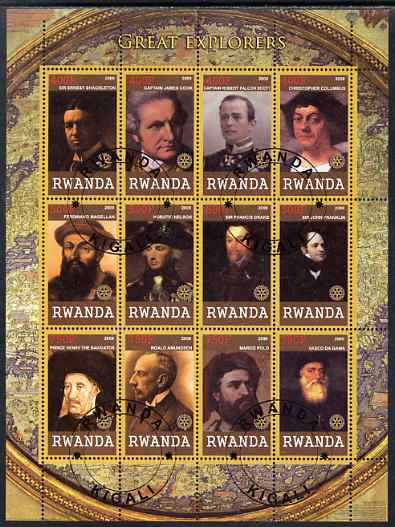 Rwanda 2009 Great Explorers perf sheetlet containing 12 values cto used each with Rotary Logos (Shackleton, Cook, Columbus, Scott, Vasco da Gama, Marco Polo, Nelson, Drak...