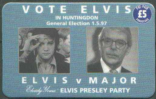 Telephone Card - Elvisly Yours �5 Limited Edition phone card 'Vote Elvis' showing Elvis & John Major