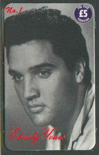 Telephone Card - Elvisly Yours No.1 - �5 Limited Edition phone card showing black & white portrait of Elvis