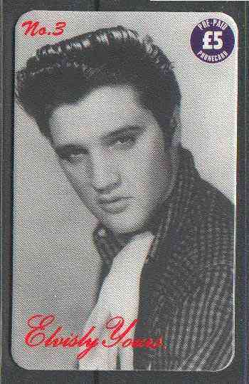 Telephone Card - Elvisly Yours No.3 - �5 Limited Edition phone card showing black & white portrait of Elvis