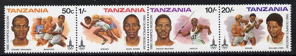 Tanzania 1980 Olympic Games strip of 4 unmounted mint SG 302a