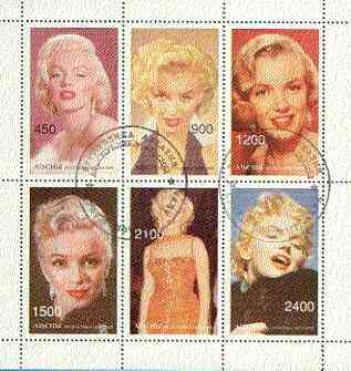 Abkhazia 1997 Marilyn Monroe perf sheetlet containing complete set of 6 values cto used