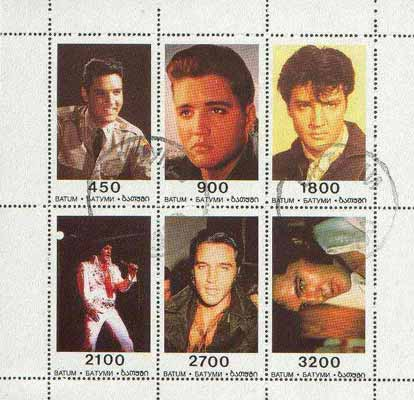 Batum 1996 Elvis Presley perf sheetlet containing set of 6 values cto used