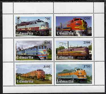 Udmurtia Republic 1998 Diesel & Electric Locos perf sheetlet containing complete set of 6 values unmounted mint