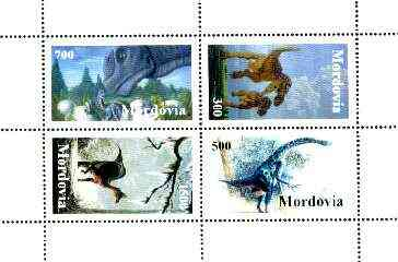 Mordovia Republic 1998 Dinosaurs perf sheetlet containing complete set of 4 values unmounted mint