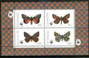 Sakhalin Isle 1998 WWF - Butterflies perf sheetlet containing complete set of 4 values unmounted mint