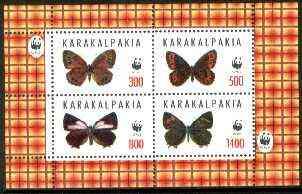 Karakalpakia Republic 1998 WWF - Butterflies perf sheetlet containing complete set of 4 values unmounted mint