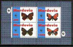 Mordovia Republic 1998 WWF - Butterflies perf sheetlet containing complete set of 4 values unmounted mint