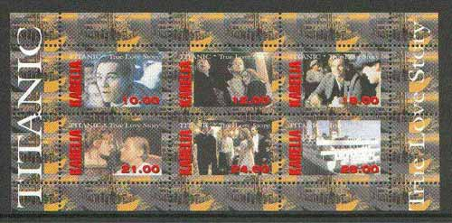 Karelia Republic 1998 Scenes from the film 'Titanic' perf sheetlet containing complete set of 6 values unmounted mint