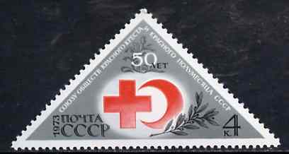 Russia 1973 Red Cross & Red Crescent (International Co-operation) triangular unmounted mint, SG 4154, Mi 4102