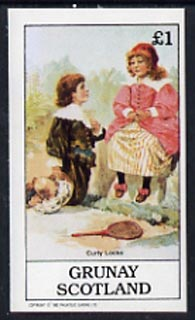 Grunay 1982 Children's Stories #01 (Curly Locks with Badminton Racket) imperf souvenir sheet (�1 value) unmounted mint