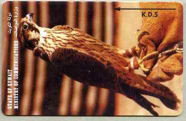 Telephone Card - Kuwait KD5 phone card showing Falcon