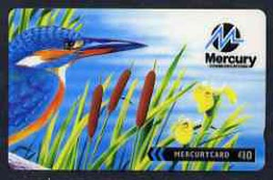 Telephone Card - Mercury �10 phone card showing Kingfisher & Iris