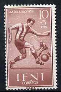 Ifni 1959 Footballer 10c + 5c from Colonial Stamp Day set, SG 154 unmounted mint*