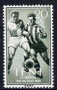 Ifni 1959 Footballers 20c + 5c from Colonial Stamp Day set, SG 155 unmounted mint*