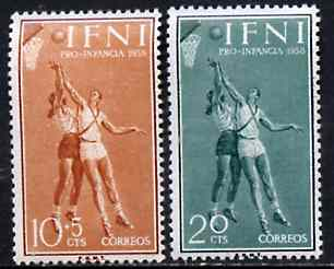 Ifni 1958 Basketball set of 2 values from Child Welfare Fund set, SG 143 & 145*