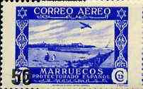 Spanish Morocco 1953 50c on 75c Airplane over Larache, surch type II unmounted mint, SG 399*