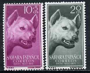 Spanish Sahara 1957 Head of Hyena set of 2 from Colonial Stamp Day set, SG 139 & 141 unmounted mint*