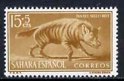 Spanish Sahara 1957 Striped Hyena 15c + 5c from Colonial Stamp Day set, SG 1340 unmounted mint*, stamps on hyena