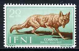 Ifni 1957 Golden Jackal 20c from Colonial Stamp Day set, SG 138 unmounted mint*