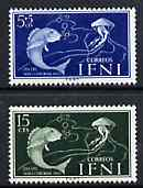 Ifni 1953 Fish & Jellyfish set of 2 values from Colonial Stamp Day set unmounted mint, SG 97 & 99
