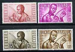 Spanish Guinea 1953 Native Welfare Fund set of 4 Native Musicians, SG 374-77 unmounted mint