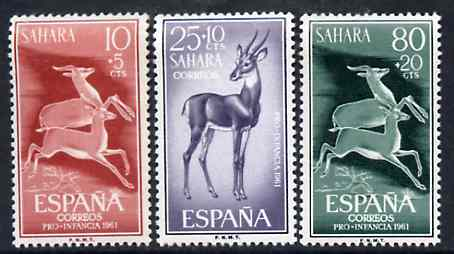 Spanish Sahara 1961 Child Welfare set of 3 Dorcas Gazelles, SG 187-89 unmounted mint