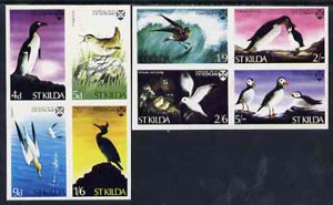 St Kilda 1968 Birds complete imperf set of 8 (produced by National Trust for Scotland) unmounted mint