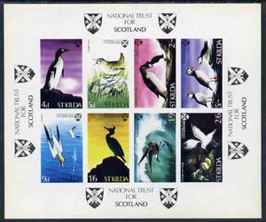St Kilda 1968 Birds imperf m/sheet containing complete set of 8 (produced by National Trust for Scotland) unmounted mint