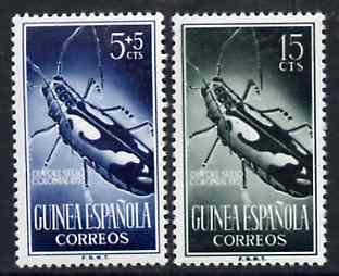 Spanish Guinea 1953 Longhorn Beetle set of 2 values from Colonial Stamp Day set, SG 383 & 385 unmounted mint*