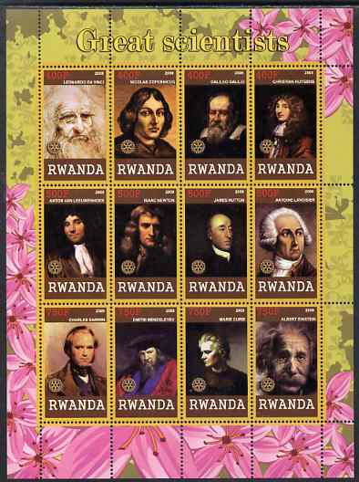 Rwanda 2009 Great Scientists perf sheetlet containing 12 values unmounted mint each with Rotary Logos (da Vinci, Copernicus, Galileo, Newton, Darwin, Curie, Einstein, etc)