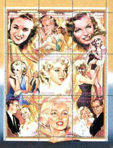 Sahara Republic 1996 Marilyn Monroe composite perf sheetlet containing 9 values unmounted mint, stamps on music, stamps on personalities, stamps on entertainments, stamps on films, stamps on cinema, stamps on marilyn monroe