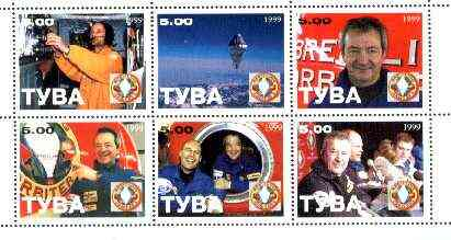 Touva 1999 Balloonists perf sheetlet containing set of 6 unmounted mint