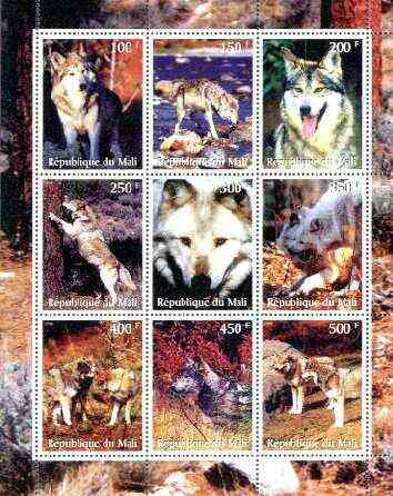 Mali 1998 Wolves perf sheetlet containing set of 9 unmounted mint