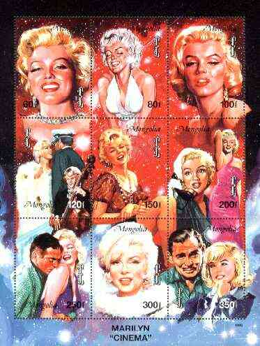 Mongolia 1995 Marilyn Monroe composite perf sheetlet containing 9 values unmounted mint