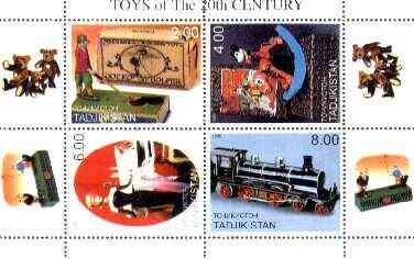 Tadjikistan 2000 Toys of the 20th Century perf sheetlet containing 4 vals (Jocko the golfer, Pluto, Train & Barbi Doll) unmounted mint