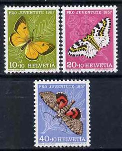 Switzerland 1957 Pro Juventute the 3 Butterfly values unmounted mint, SG J168-69 & 171*