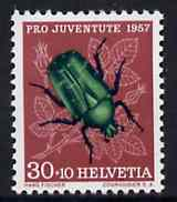 Switzerland 1957 Pro Juventute 30c + 10c Beetle unmounted mint, SG J160*