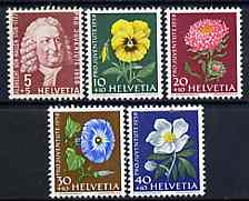 Switzerland 1958 Pro Juventute set of 5 (Flowers & Naturalist) unmounted mint SG J172-76*