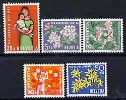 Switzerland 1962 Pro Juventute set of 5 (Flowers & Children) unmounted mint SG J187-91*