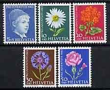Switzerland 1963 Pro Juventute set of 5 (Flowers & Portrait of Boy) unmounted mint SG J197-201*, stamps on flowers     children