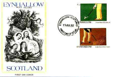 Eynhallow 1982 Golf imperf set of 2 on cover with first day cancel (15th July 1982 - first day of the Open)
