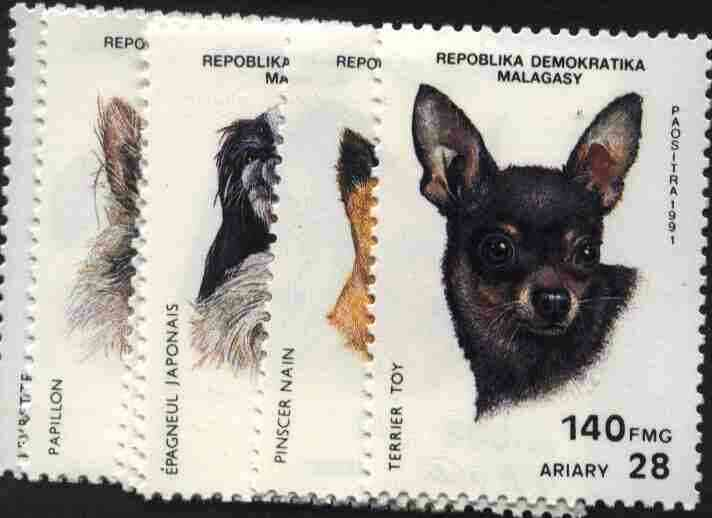 Malagasy Republic 1991 Dogs complete set of 7 unmounted mint, SG 854-60, Mi 1299-1305*