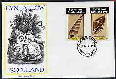 Eynhallow 1982 Shells (Screw Shell) perf set of 2 values (40p & 60p) on cover with first day cancel