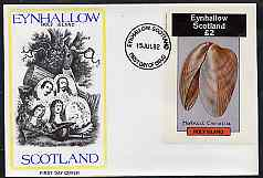 Eynhallow 1982 Shells (Crenella) imperf deluxe sheet (\A32 value) on cover with first day cancel