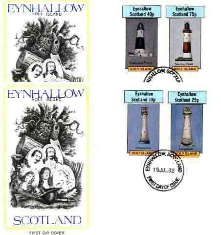 Eynhallow 1982 Lighthouses imperf set of 4 values (10p to 75p) on two covers with first day cancels